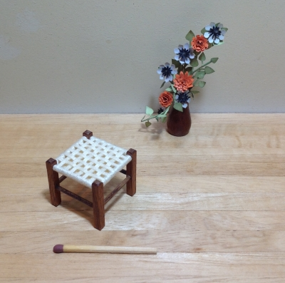 Stool, open weave cream
