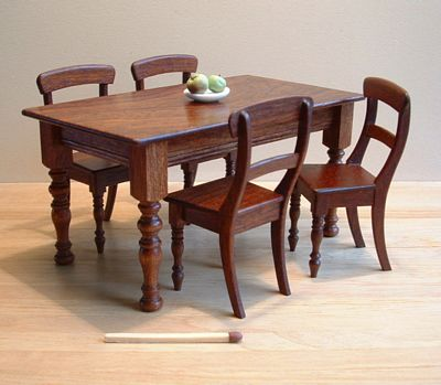 Classic table and chairs, polished